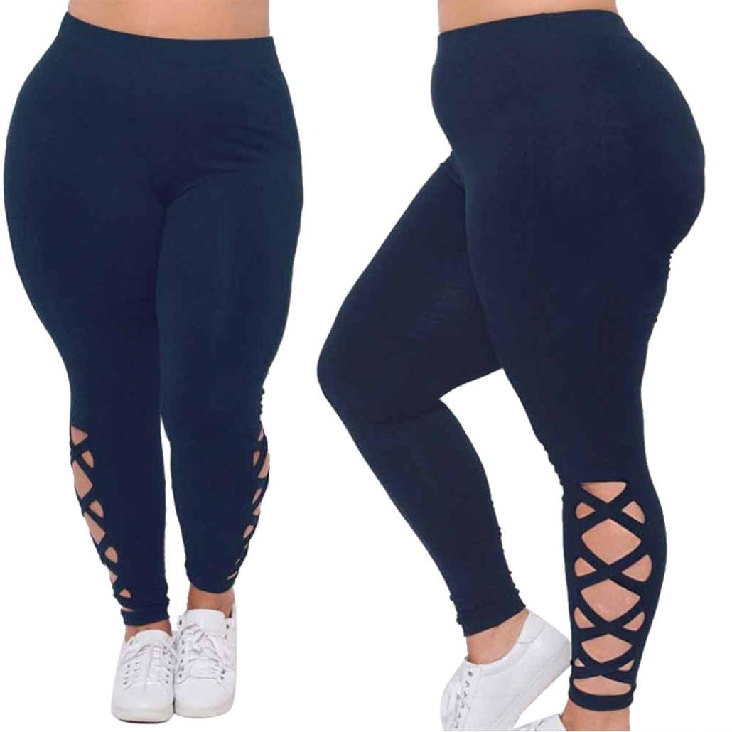 GoodLock Women Plus Size Elastic Leggings Solid Criss-Cross Hollow Out Sport Pants