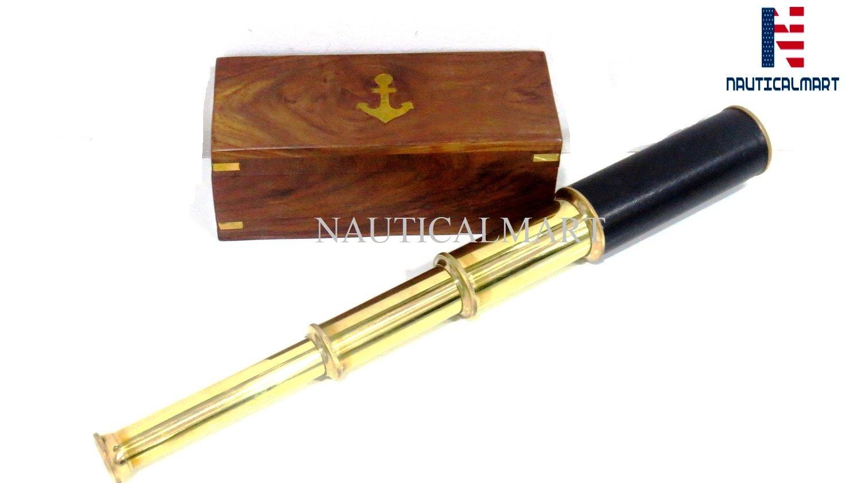 NAUTICALMART Handheld Brass Pirate Navigation Telescope with Wooden Box (14'') by NAUTICALMART (Image #1)