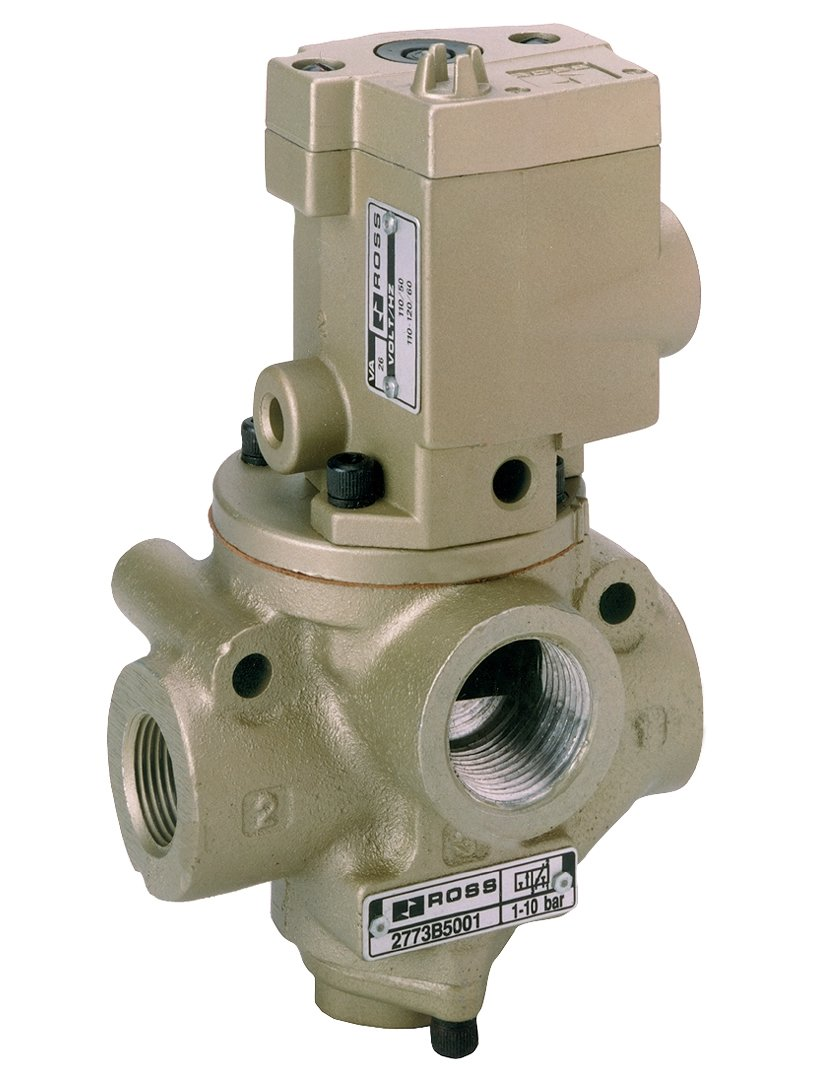 Spring Return Ross Controls D2771B9011Z 27 Series 2//2 Single Solenoid Controlled Valve 2-1//2 In-Out Normally Closed BSPP 110 VAC 2-1//2 In-Out