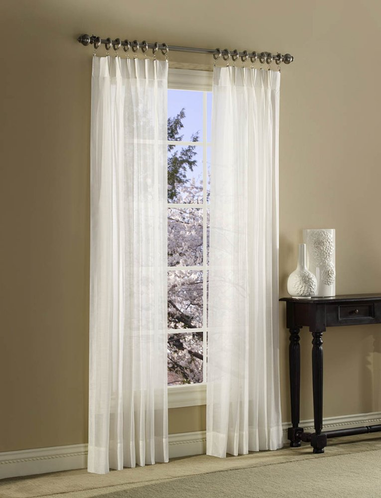 dp long drapes white bedroom casual pair window amazon curtains sheer set voile textured for curtain inch com