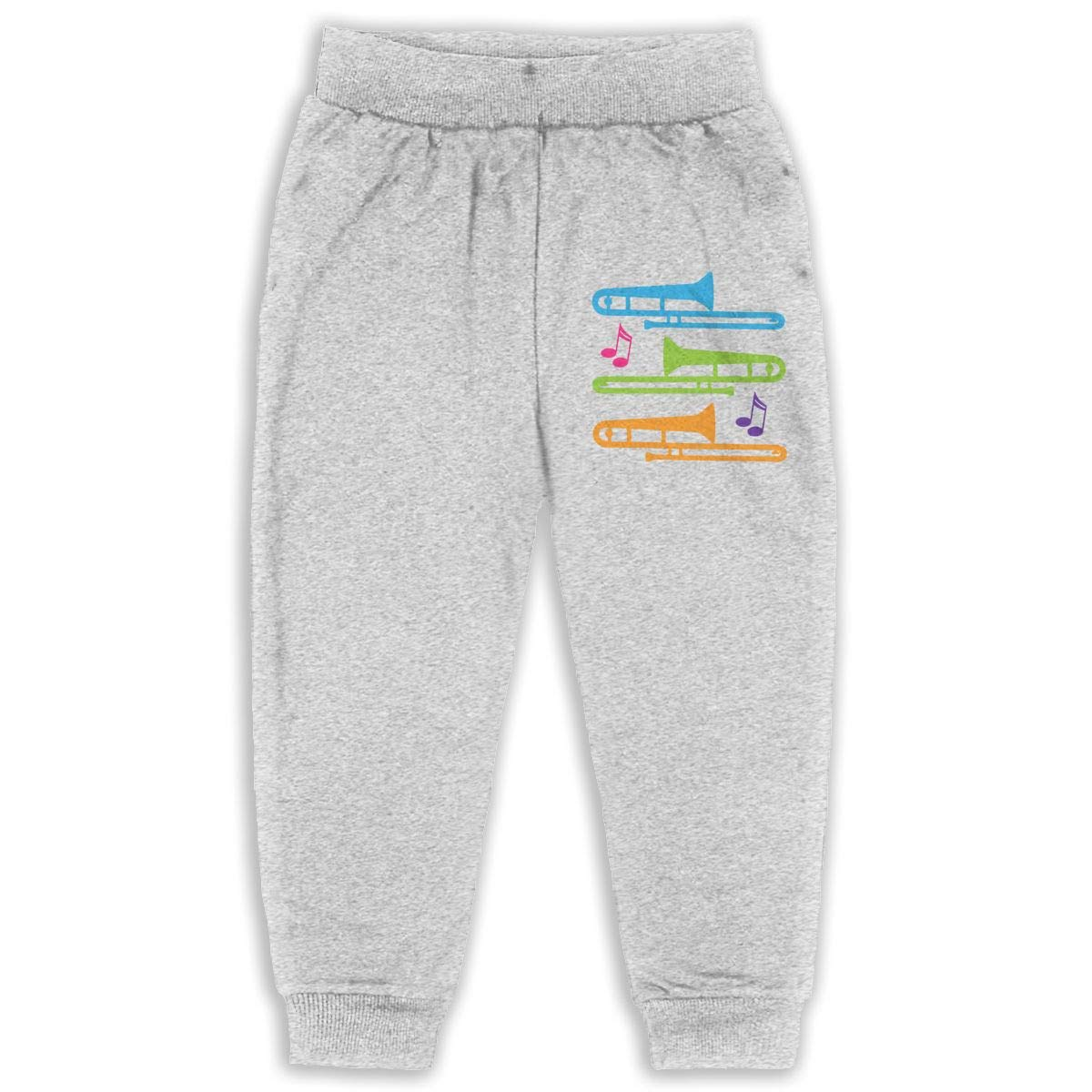 Never-Cold Colorful Trombones Toddler Boys Sweatpants Elastic Waist Pants for 2T-6T