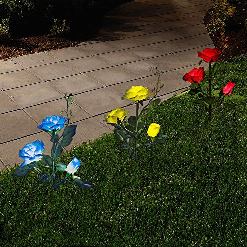 XLUX 3 Pack Outdoor Decorative Solar Rose LED Lights, Blue+Red+Yellow