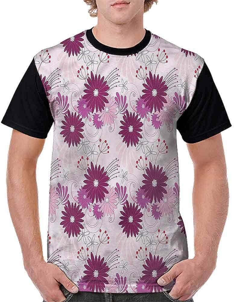 BlountDecor Performance T-Shirt,Monochrome Artful Plant Fashion Personality Customization