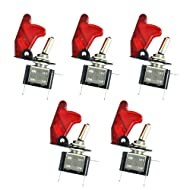 ESUPPORT Car Red Cover Red LED Toggle Switch Pack of 5