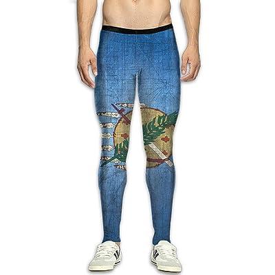 QWYHFHH Mens Oklahoma Sign Compression Pants Sport Tight Leggings Elastic Waist Baselayer Yoga Sports Trousers