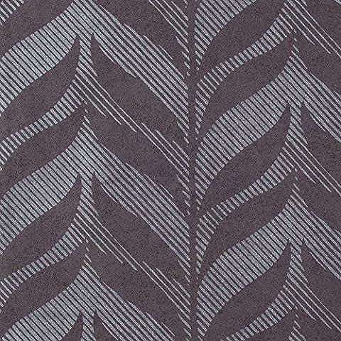 Romosa Wallcoverings Fern Dark Purple / Silver Vertical Motif Wallpaper Roll Decor (Dark Purple Wallpaper)