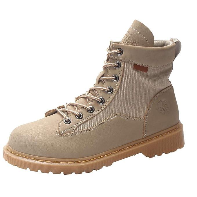 MYMYG Botas de Mujer Cuero Impermeables Botines Hombre Invierno Zapatos Nieve Piel Forradas Calientes Planas Combate Militares Black Friday Boots: ...