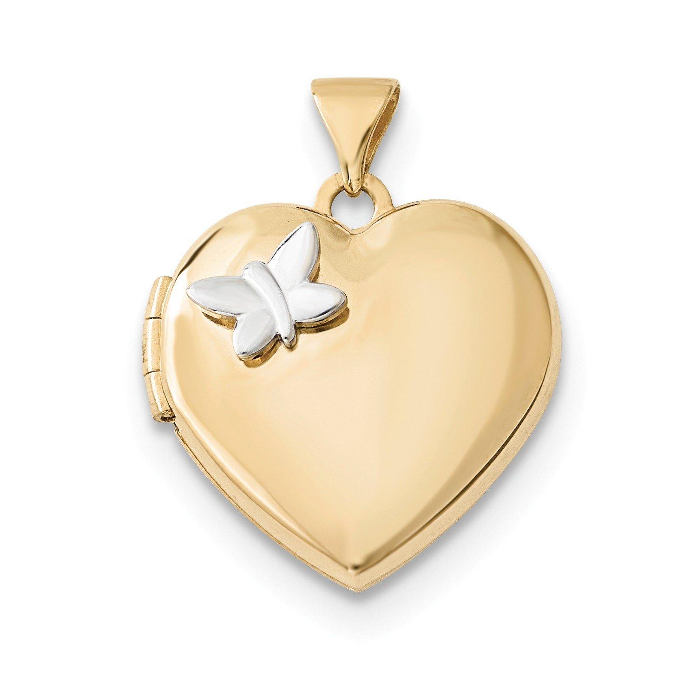 Roy Rose Jewelry 14K Two-tone Gold 18mm Heart w/Butterfly Locket