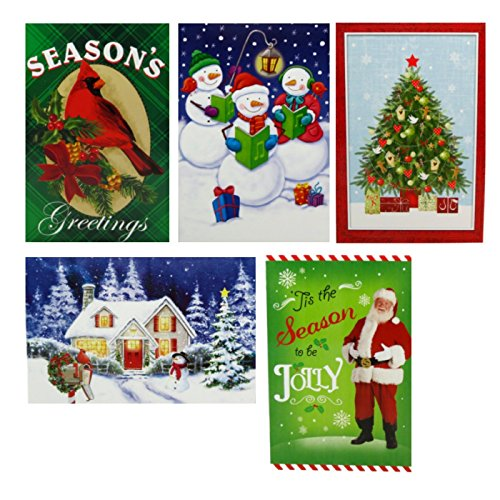 20 Assorted Greeting Cards (Holiday Greeting Cards 20 Count Assorted with Envelopes Christmas Country Letter Mail 4