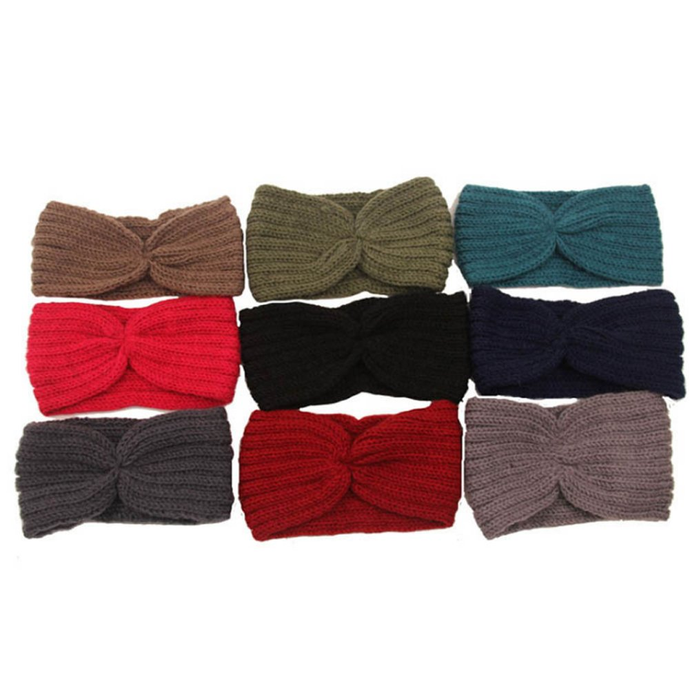 WRISTCHIE Womens Bohemian Style Knitted Warm Headband for Autumn and Winter(9 Packs) TF031-9Packs