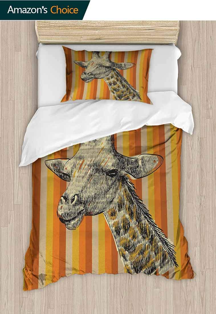 Giraffe Printed Quilt Cover and Pillowcase Set, Sketch Style Image Portrait of Hipster Animal Zoo Safari Wildlife Themed, Decorative 2 Piece Bedding Set with 1 Pillow Sham, 39 W x 51 L Inches by carmaxshome