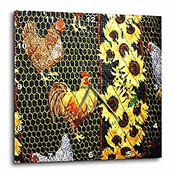 3dRose dpp_58561_2 Quilted Rooster N Sunflowers-Wall Clock, 13 by 13-Inch