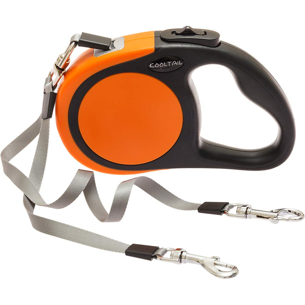 KOOLTAIL Dual Retractable Dog Leash - Heavy Duty Double Headed 16 ft Extendable Dog Leash for Small Medium Dogs Walking Training, Walk 2 Dogs up to 110 lbs by KOOLTAIL