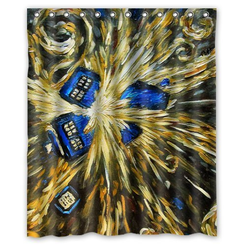 Doctor Who Season & Van Gogh Oil Painting Custom Shower Curtain 60