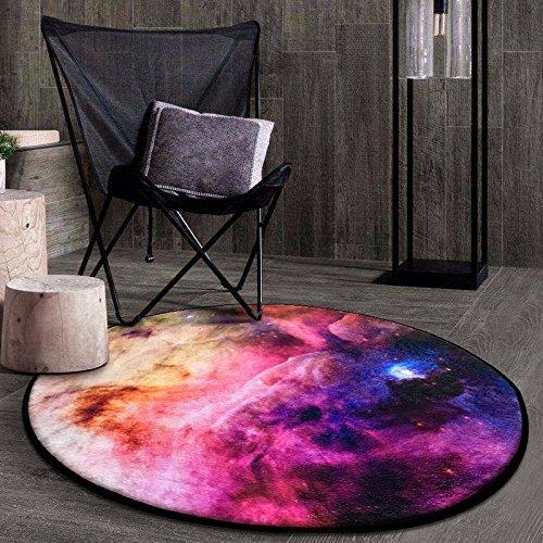 DIDIDD 3D Stereo Universe Planet Earth Tables Pad Minimalist round Satin Star Star Balcony Carpet Anti-Slip Pad,1 Star,Diameter 80 Cm