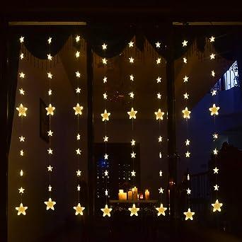 140 LED Lichterkette 80 Sterne Lichtervorhang Lichternetz Außen Warmweiß  Sterne Innen Sternenvorhang Weihnachtsbeleuchtung Für Bett Fenster