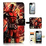 ( For iPhone 8 / iphone 7 ) Flip Wallet Case Cover & Screen Protector Bundle - A21070 Deadpool