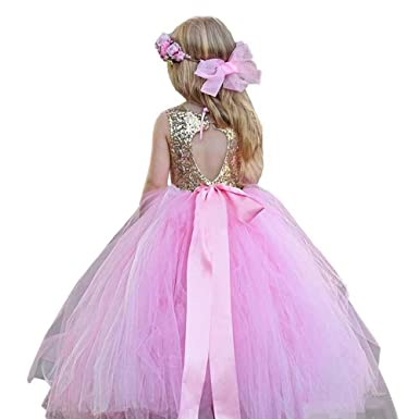 00c8d22ae0792 MuchXi Gold Sequins Pageant Dress Long Flower Girl Bridesmaid Dresses Bow