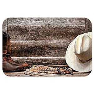 VROSELV Custom Door MatWestern Decor Americana Rodeo Fashion White Straw Hat Original Lariat Lasso and on Barn Tortilla Brown