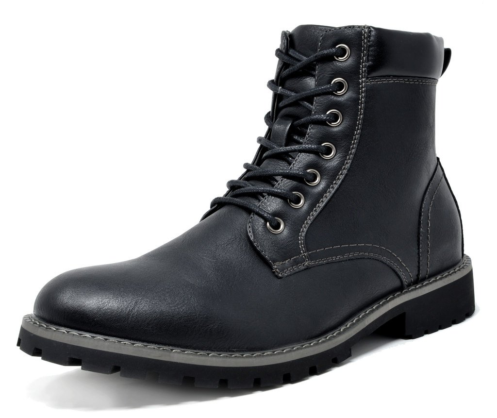 Bruno Marc Men's Stone-03 Black Motorcycle Combat Dress Oxford Snow Boots Size 13 M US by BRUNO MARC NEW YORK