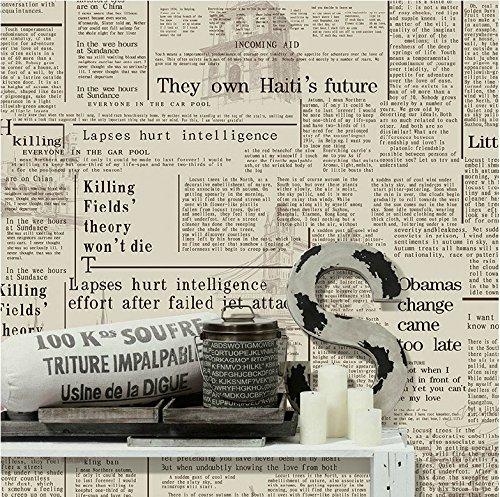 Haokhome Vintage Newspaper Wallpaper Letter Vinyl Wall