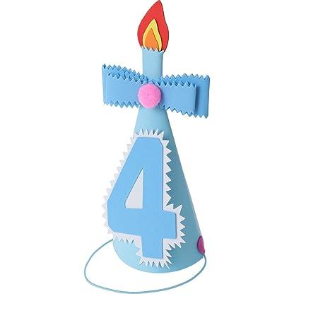 BESTOYARD Sombreros de Cumpleaños Infantil para Niños Corona de Prince para Cumpleaños Adorno de Pelo para Cumpleaños de Niño (Número Azul 4)