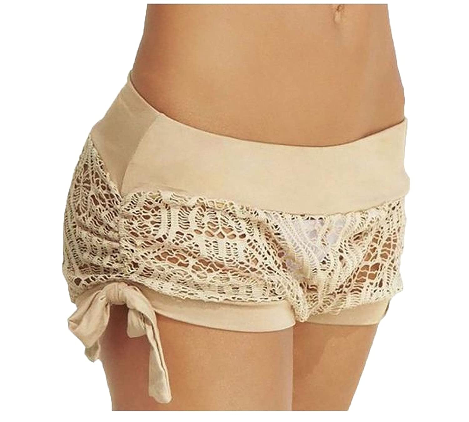 Abetteric Women's Lace Trim Contrast Hollow Out Solid Hot Shorts