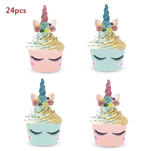 Inmozata - Adornos para cupcakes con diseño de unicornio y ...