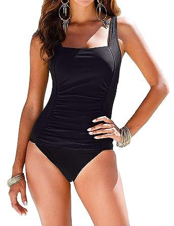 48dca564d0 I2CRAZY Black One Piece Swimsuit Ruched Tummy Control Bathing Suit - S,  Black