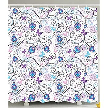 Ambesonne Paisley Shower Curtain Art Prints By Flowers Nature Floral Ornaments Tulips Branches With Butterfly