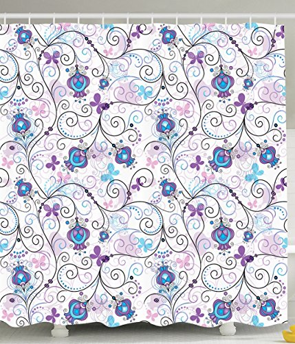 Paisley Butterfly Rug (Ambesonne Paisley Shower Curtain Art Prints by, Flowers Nature Floral Ornaments Tulips Branches with Butterfly Pattern for Bathroom Accessories Decor Bright Colors of Cloth, Purple Lilac and Blue)