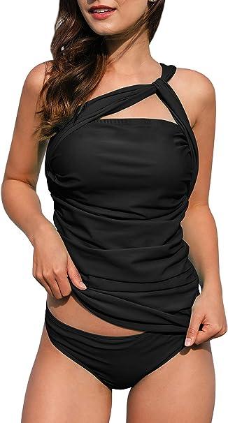 Amazon.com: Tankini sexy con un hombro para mujer de dos ...