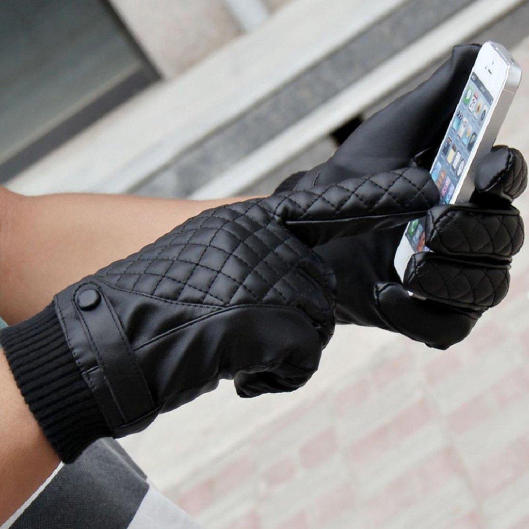 Amison Guanti moto uomo sport invernali termici PU pelle guanti Touch