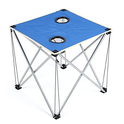 WINOMO – Mesa de camping plegable portátil mesa plegable con portavasos, Azul