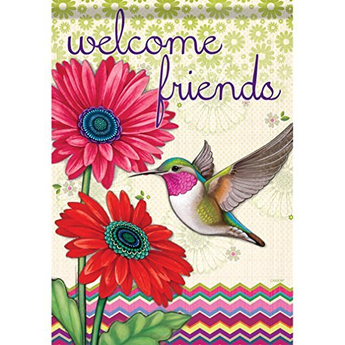 Hummingbird Welcome Sign - Carson Home Accents FlagTrends Classic Garden Flag, Hummingbird Glory