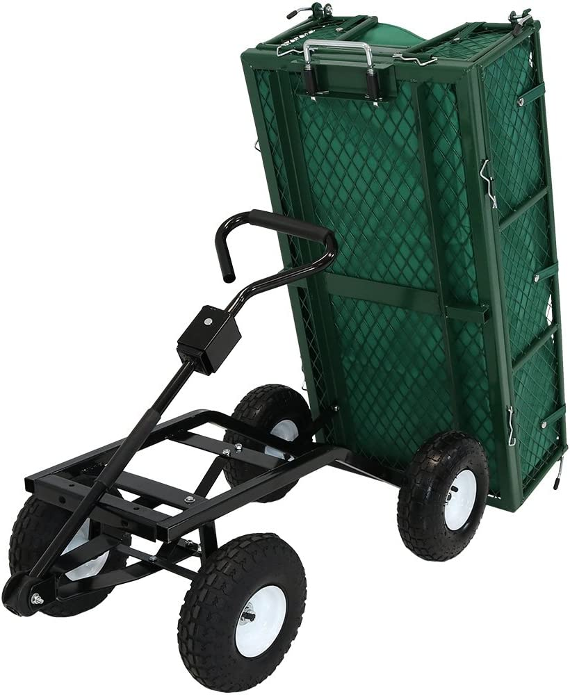 Sunnydaze Utility Steel Dump Garden Cart with Liner Set, Outdoor Lawn Wagon with Removable Sides, Heavy-Duty 660 Pound Capacity, Green