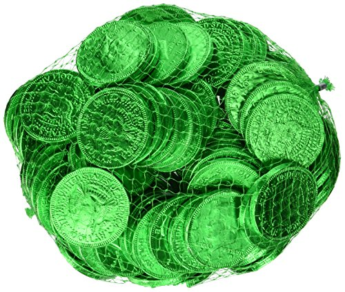 Fort Knox Metallic Foiled Milk Chocolate Seafoam Green Large Coins in 1 Lb. Mesh Bag