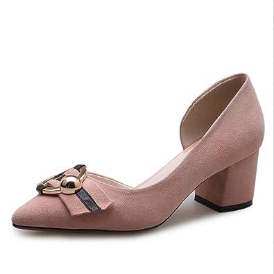 XZGC Feder Dick mit Einschichtigen Schuhe Seite mit Hohen Absätzen Seite Schuhe ... e48bfe