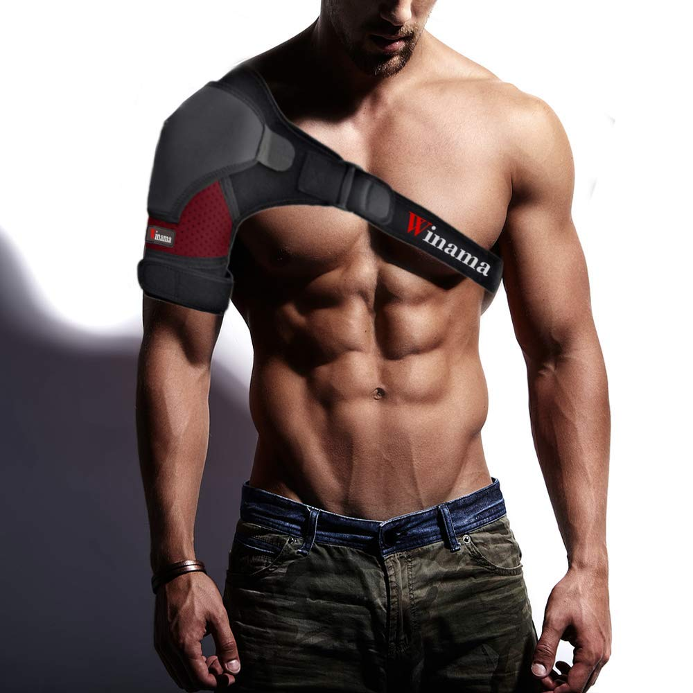 Winama Shoulder Brace - Shoulder Support for Dislocation, Rotator Cuff, Sprain - Suitable for Men and Women - with Adjustable Strap, Breathable Neoprene – Special Bonus Free Ebook and Kinesiology Tape