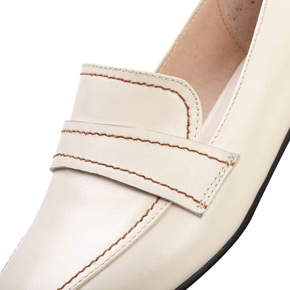 Nine Seven Womens Genuine Leather Closed Round Toe Penny Loafers Handmade Casual Flats Shoes for Ladies