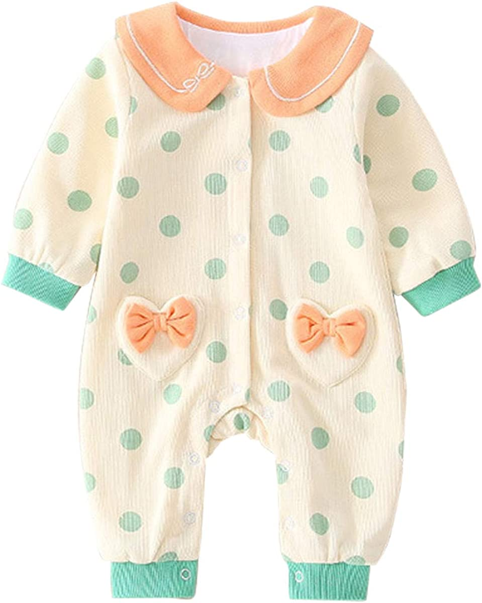 Lemohome Baby Girl Clothes Long Sleeve Cotton Knitted Ruffle Romper