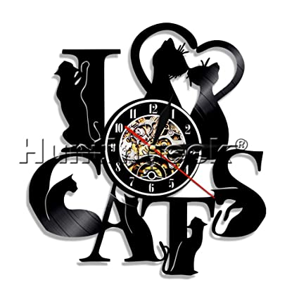I LOVE Cats Vinyl Record Wall Clock Art Gift Room Modern Home Record Vintage House Warming