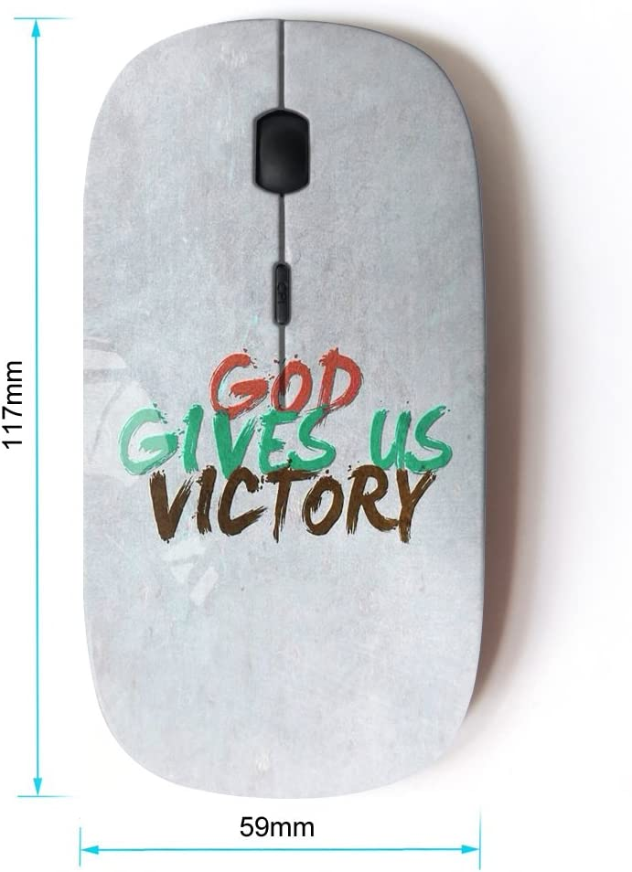 KOOLmouse Optical 2.4G Wireless Computer Mouse BIBLE VERSE GOD GIVES US VICTORY