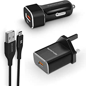 Promate Type-C Charging Kit, Qualcomm Certified 3-In-1 Quick Charger 3.0 Travel and Car Charger Kit with 1.2m USB Type-C Sync Charge Cable for Samsung S9, S9+, Note 8, USB Devices, UniGear-QC3 UK