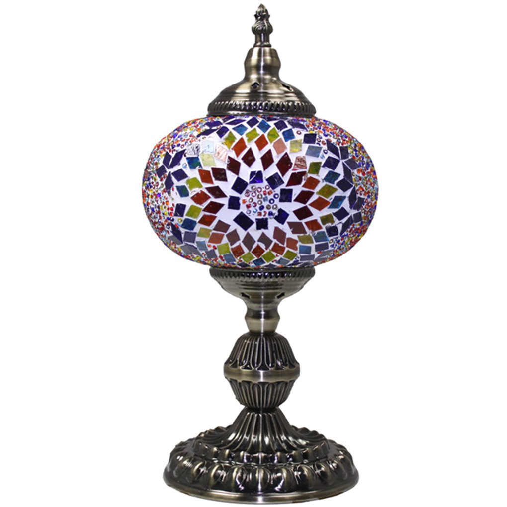(シルバーフィーバー) SILVERFEVER手作りモザイクトルコランプ - モロッコガラス - テーブル/デスク/ベッドサイド用照明-ブロンズベース マルチカラー M1001 B073X86RKF 29211 Floral Burst LG Floral Burst LG