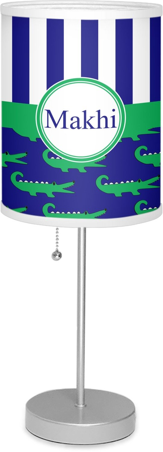 RNK Shops Alligators & Stripes 7'' Drum Lamp with Shade Linen (Personalized)