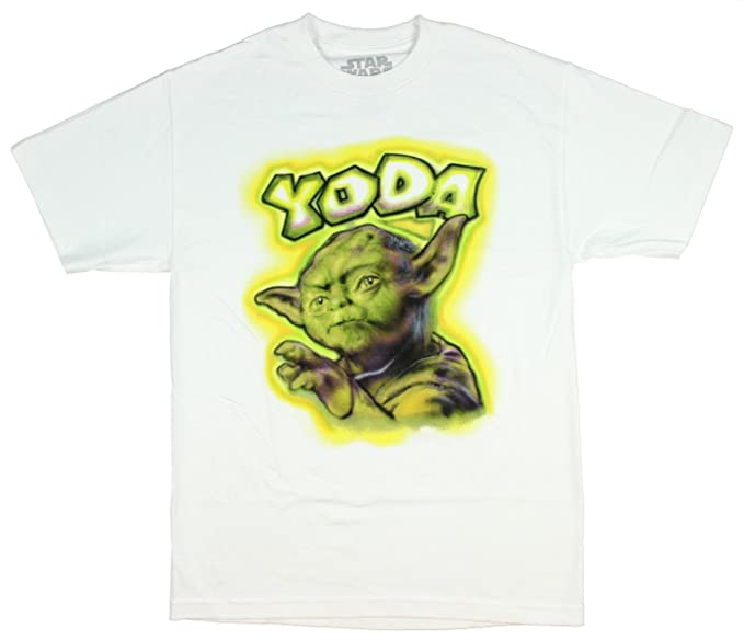 6cf1073b0 Amazon.com: Star Wars Men's Yoda Spray Paint Street Art Licensed T ...