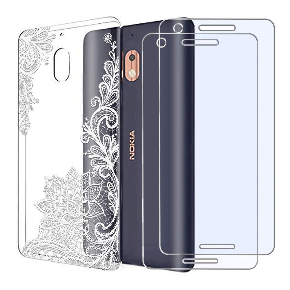 Nokia 2.1 Case with 2 Pack Glass Screen Protector Phone Case for Men Women Girls Clear Soft TPU with Protective Bumper Cover Case for Nokia 2 V-White Flower