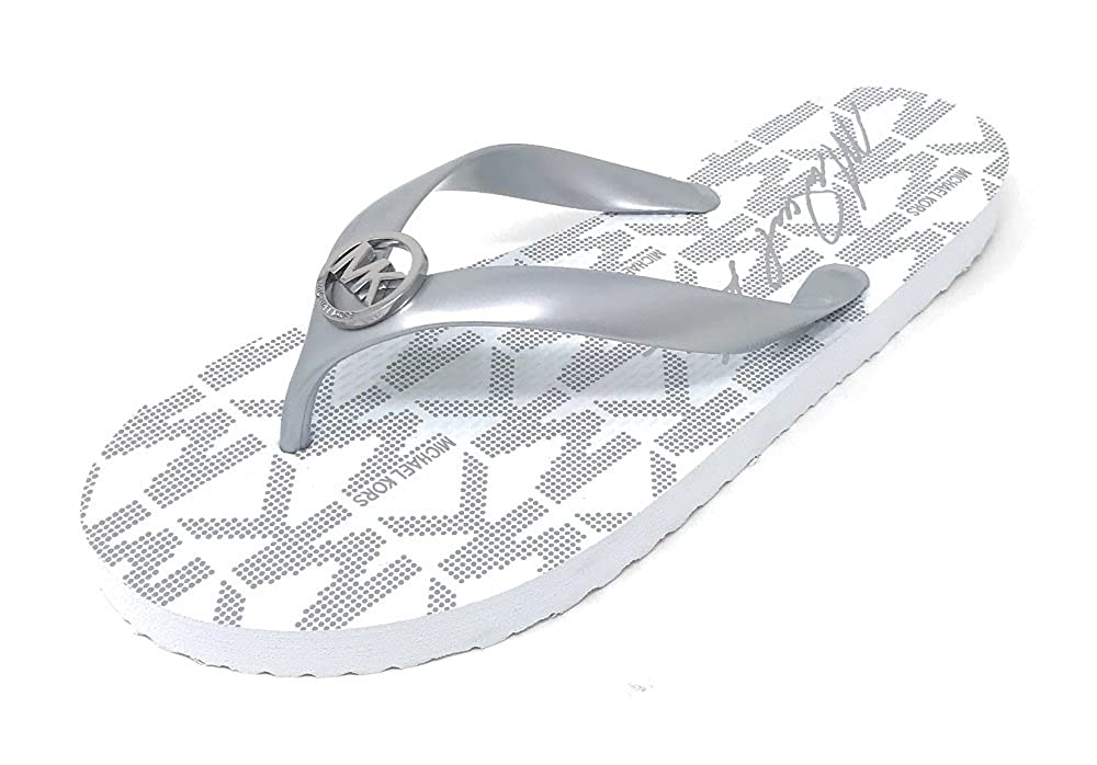 meet united states buying now Michael Kors Flip Flop Rubber MK Logo (8, Silver)