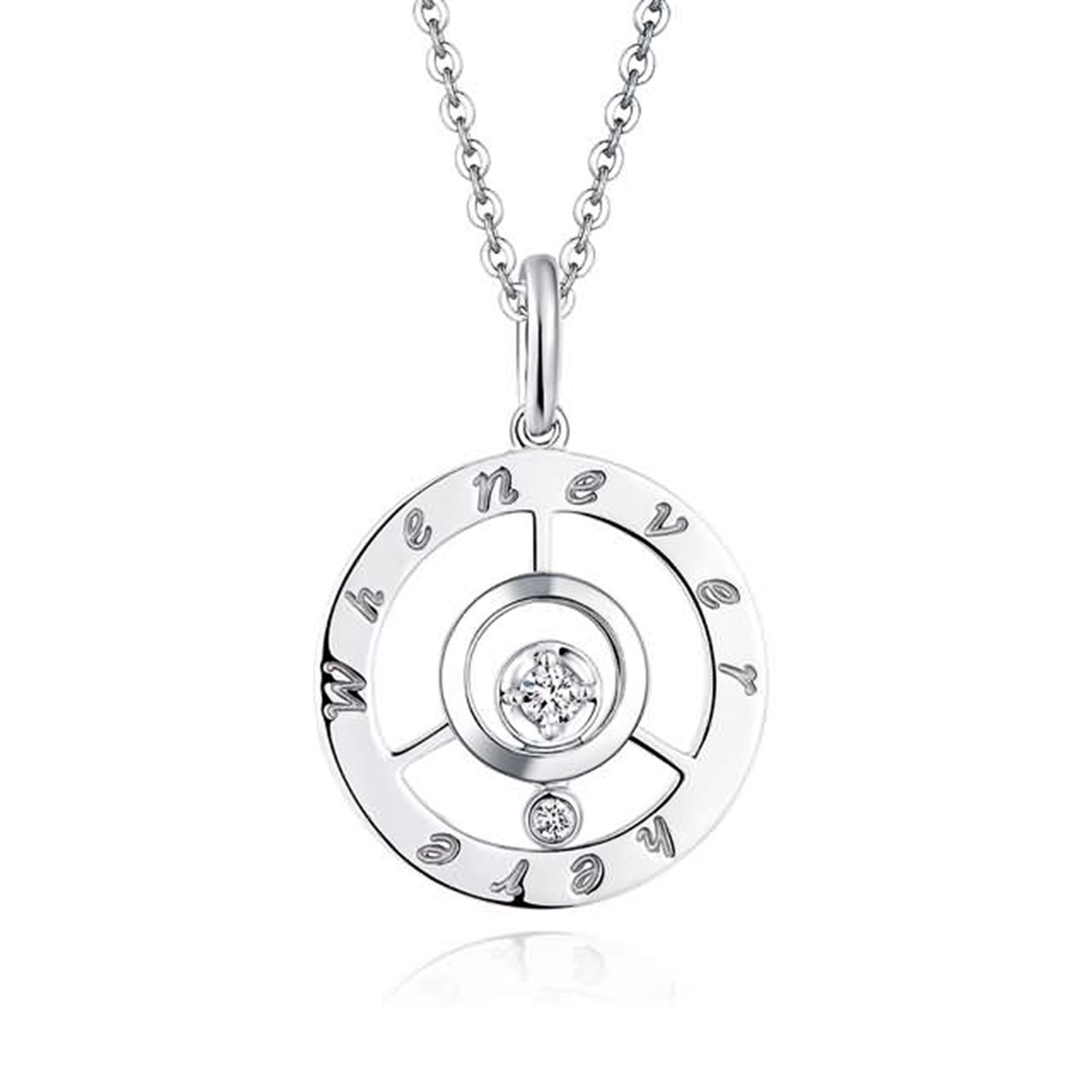 Adisaer 18k(750) White Gold Women Necklace 1.57g ''Whenever Here'' Round Diamond Wedding Necklace